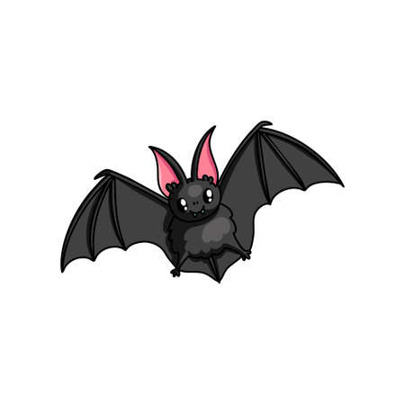 Cute flying bat with shiny eyes and red ears, deep cave . Cartoon style. Vector illustration on white background Standard-Bild - 123067590