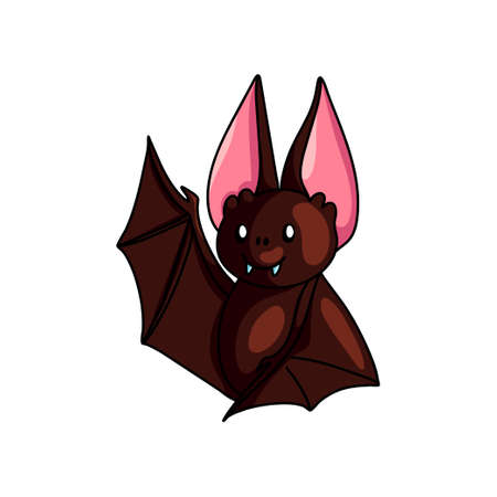 Cute brown bat say hello with wing up, shiny eyes, cute mascot. Cartoon style. Vector illustration on white background Standard-Bild - 123067592
