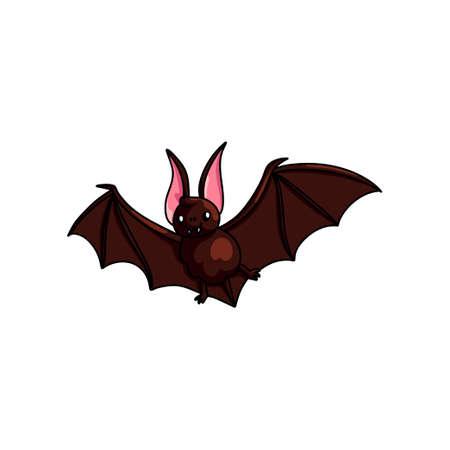 Brown cute flying bat, horror cave animal Standard-Bild - 121705532
