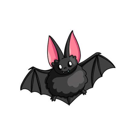 Grosse chauve-souris d'horreur noire mignonne, animal souriant de la forêt sombre. Style de bande dessinée. Illustration vectorielle sur fond blanc