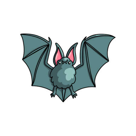 Fat grey flying bat with long wings from deep black cave. Cartoon style. Vector illustration on white background