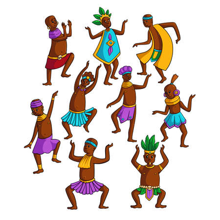 Set of colorful african tribe people dancing in circle at holiday day. Cartoon style. Vector illustration on white background