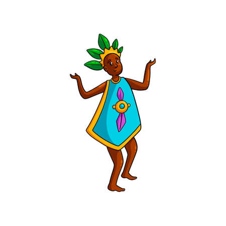 Dancing african tribe woman with green leaf crown and colorful blue clothes. Cartoon style. Vector illustration on white background
