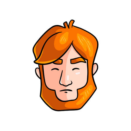 Tense face of redhead man in stress situation in family