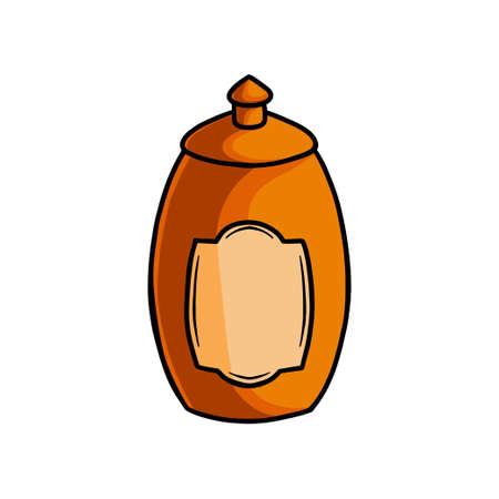 Wood sweet honey jar, kitchen grandma pot