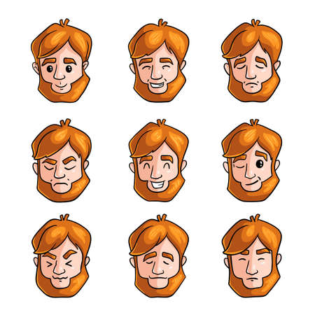 Set of man redhead in different poses and face emotions, for video game. Cartoon style. Vector illustration on white background