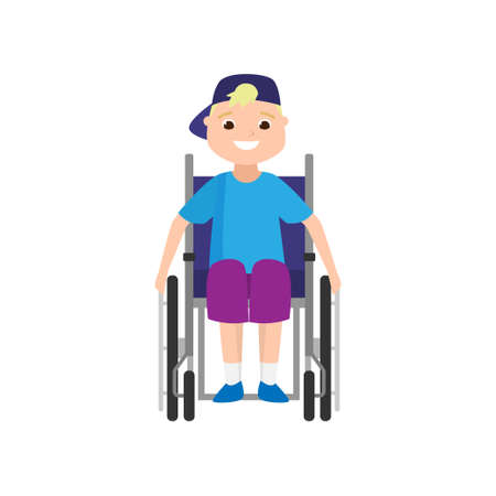 Cute smiling blonde boy, front view in wheelchair, disabled young person. Flat style. Vector illustration on white background