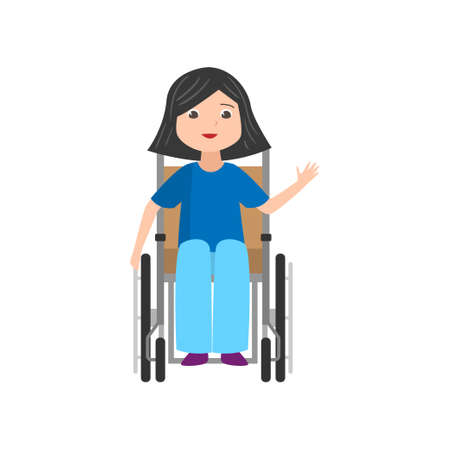 Cute smiling student girl in jeans stay in wheelchair, front view. Flat style. Vector illustration on white background