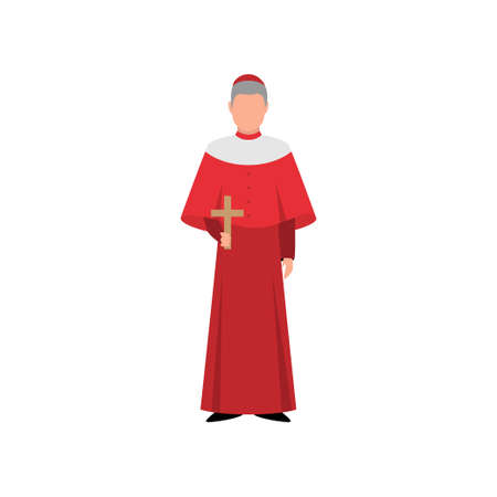 Catholic italian cardinal in red clothes and small cap