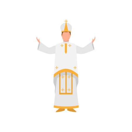 Vatican papa francisco priest in white clothes with gold ornament Ilustração