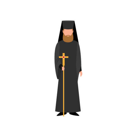 Christian pope priest in black clothes and gold cross scepter, europe church. Flat style. Vector illustration on white background 矢量图像