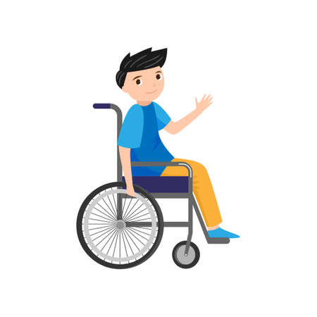 Cute young smiling boy say hello in wheelchair, disabled lovely person. Flat style. Vector illustration on white background