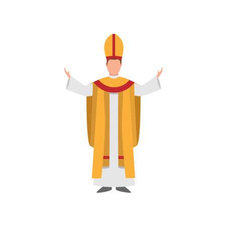 Kirchen- oder Dompriester mit weißgoldener Kleidung mit roten bunten Linien. Flacher Stil. Vektorillustration auf weißem Hintergrund