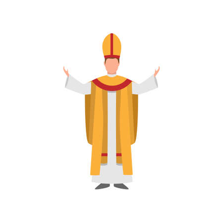 Sacerdote de la iglesia o catedral con ropas de oro blanco con líneas rojas de colores. Estilo plano. Ilustración vectorial sobre fondo blanco
