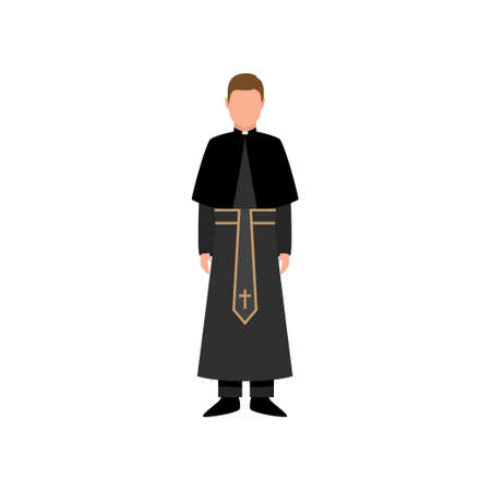 Catholic church priest in black clothes with gold cross