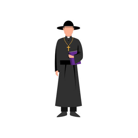 Catholic priest with black hat and bible book in hand, ready for people. Flat style. Vector illustration on white background
