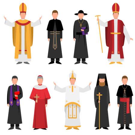 Set di sacerdoti di religione cattolica o cristiana in abiti diversi