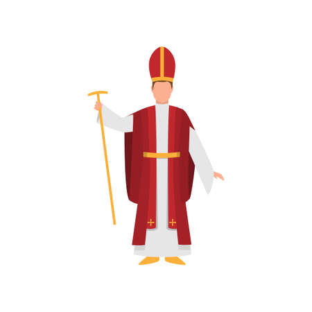 Priest papal majordomo in red clothes with gold scepter Vettoriali