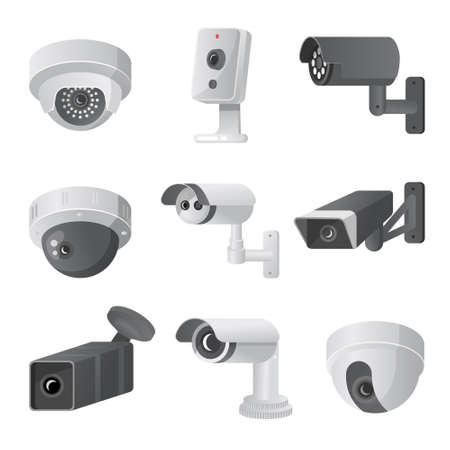 Set of modern security camera, outdoor or indoor mode, for home or office use. Cartoon style. Vector illustration on white background Ilustrace