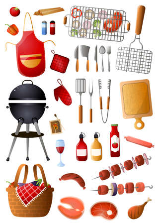 Conjunto de herramientas y equipos de barbacoa para el tiempo libre familiar o el día festivo. Estilo de dibujos animados. Ilustración vectorial sobre fondo blanco