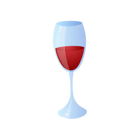 Glass of red wine for home lunch or bbq time at sunday holiday. Cartoon style. Vector illustration on white background