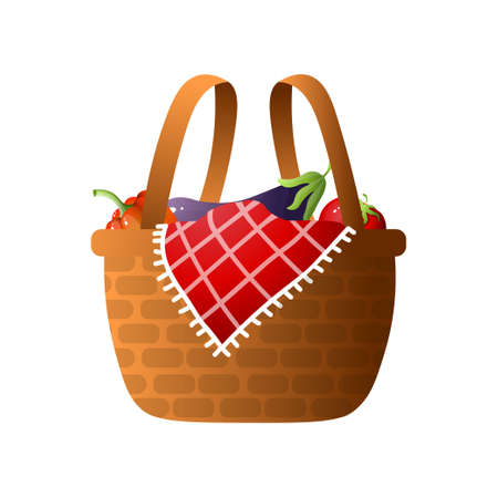 Wood basket with fresh vegetables for bbq or picnic time with lovely family. Cartoon style. Vector illustration on white background Çizim