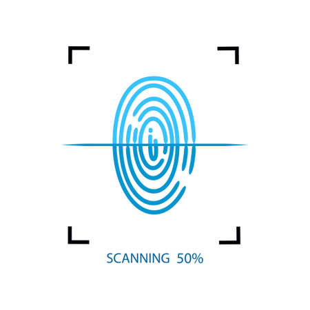 Proces van het scannen van vingerafdrukken op smartphone of ander modern apparaat