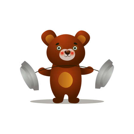 Cute brown siberian bear lift up metal barbell