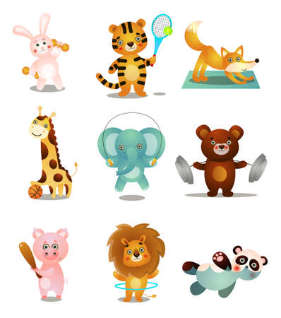 Conjunto de lindos animales de juego coloridos, en diferentes actividades deportivas al aire libre. Estilo de dibujos animados. Ilustración vectorial sobre fondo blanco