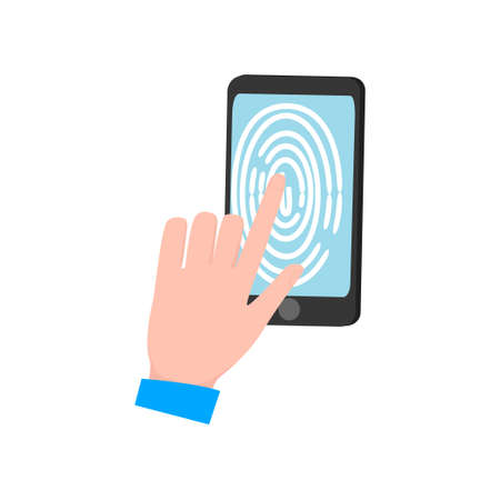 Man hand touch smartphone display, modern fingerprint security device. Flat style. Vector illustration on white background 向量圖像