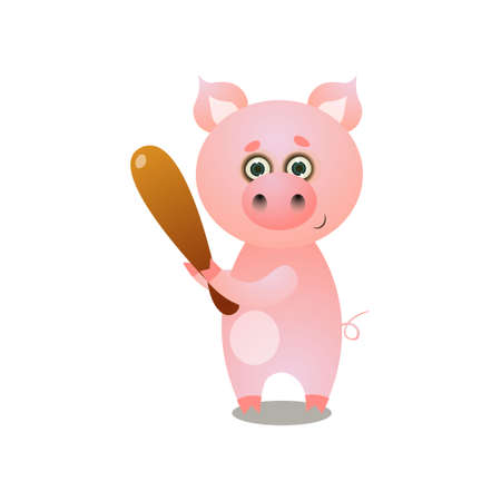 Cute pink pig playing baseball with wood bat at sport arena. Cartoon style. Vector illustration on white background