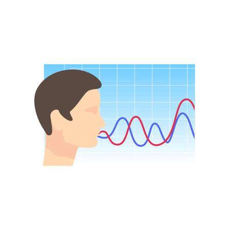 Man head right view, security voice recognition system Ilustración de vector