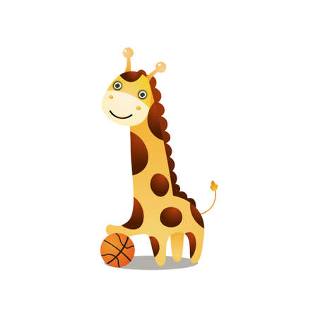 Cute smiling giraffe play basketball with red ball at sport arena. Cartoon style. Vector illustration on white background Vectores