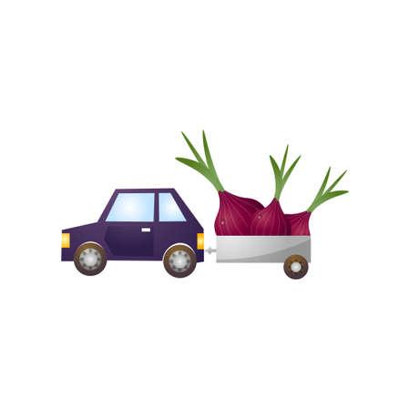 Blue car with metal trailer, fresh farm onion