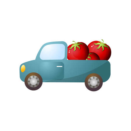 Blue retro pickup with red fresh farm tomato, going to supermarket. Cartoon style. Vector illustration on white background