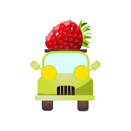 Front view of green pickup with fresh red strawberry