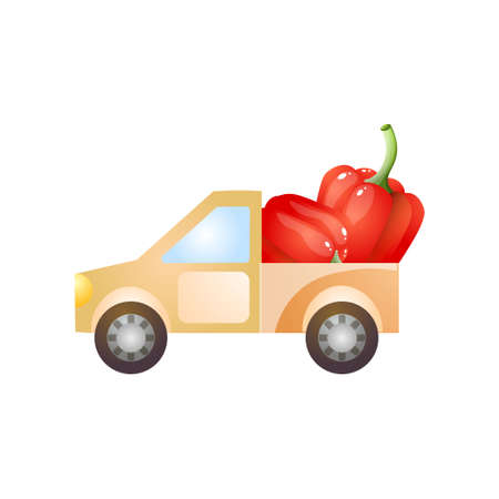 Farm pickup delivery fresh eco red paprika for city restaurant or market. Cartoon style. Vector illustration on white background