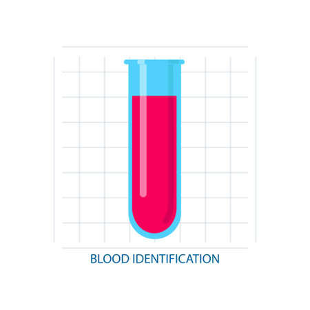 Blood identification, in chemical or medical test tube, modern 向量圖像