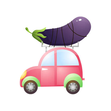 Small colorful car with fresh eco eggplant on roof