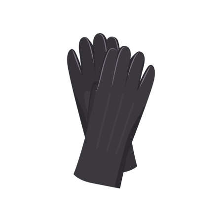 Black leather winter gloves, for woman, girl or kid