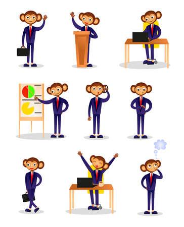 Conjunto de empresario mono en diferentes situaciones de oficina diaria