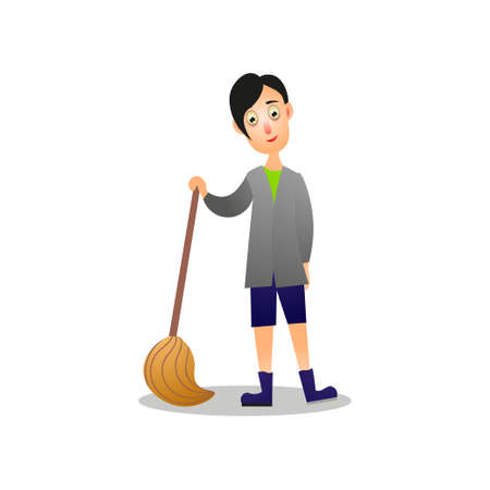 Cute smiling young boy cleaning home floor using wood broom. Cartoon style. Vector illustration on white background Vectores