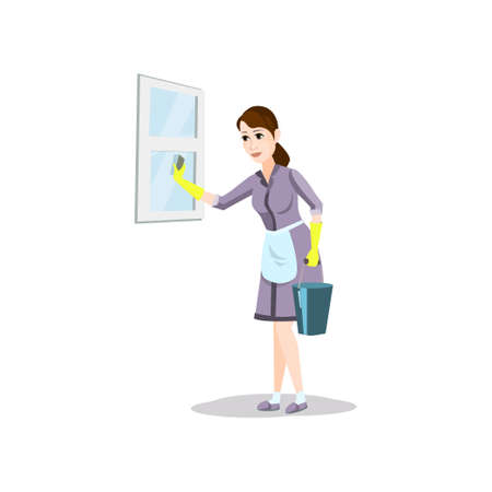 Cleaning woman with detergent bucket clean home window Stockfoto - 122898561