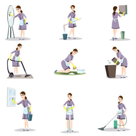 Conjunto de mujer de la limpieza en diferentes poses y situaciones hogareñas.