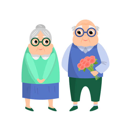 Lovely senior couple, old man give flower bouquet Stock Illustratie