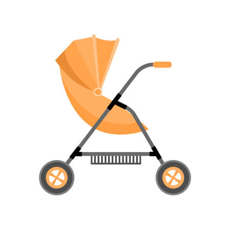 Orange color newborn baby stroller with metal basket Illustration