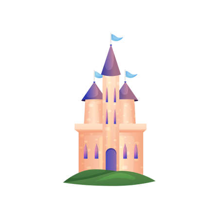 Princess high castle with long windows and violet roof Illustration