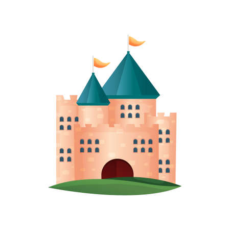 Medieval red brick castle tower with small windows Foto de archivo - 123918264
