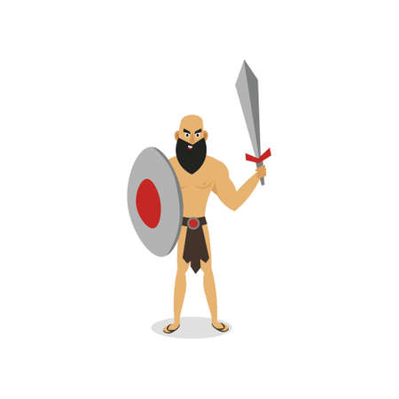 Ancient man gladiator ready to fight, stay strong Illustration