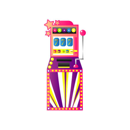 Casino slot game machine with gold crown and seven Illustration